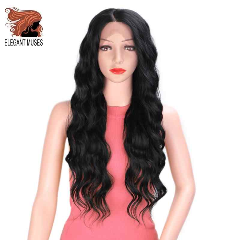ELEGANT MUSES Black Synthetic Wig Soft 24 inches Long Wavy Lace Front Wigs For Write Black Women Daily Wear