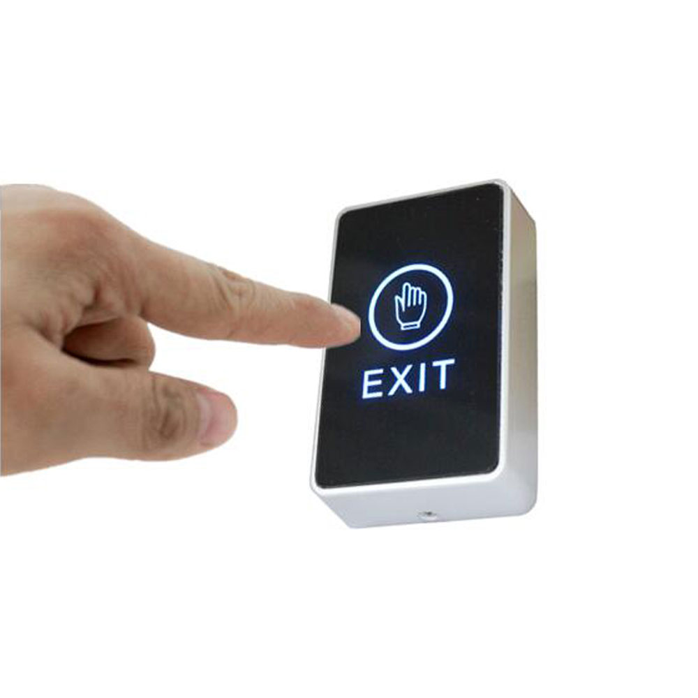 Touch Exit Button Acrylic Panel 86mm X 56mm NO/NC/COM Output  Blue Back Light Electric Box Cassette Min:1pcs