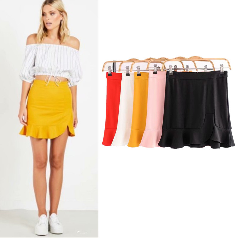 Europe And America High-waisted Sheath Fishtail Flounced Skirt Solid Color Short Skirt Women's Summer 2018 Versatile A- Line Ski