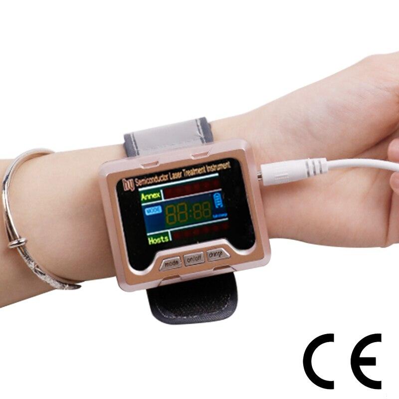 Instrumento de terapia láser para tratar la presión arterial, la Diabetes, la rinitis, el aparato de esterol rinitis fisioterapia reloj de pulsera saludable-in Glucosa en sangre from Belleza y salud    1