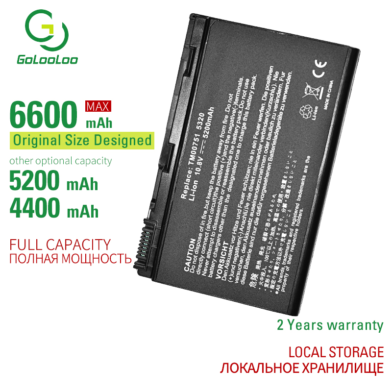 Golooloo 6 Cells Laptop <font><b>Battery</b></font> TM00741 For <font><b>Acer</b></font> <font><b>5210</b></font> 5220 5230 5235 5420 5610 5620 5620Z 5630 7220 7620 GRAPE32 TM00751 TM00772 image
