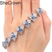 Gorgeous Flowers Iolite CZ Woman's Wedding Silver Bracelet 7.5-8.0in 15x15mm