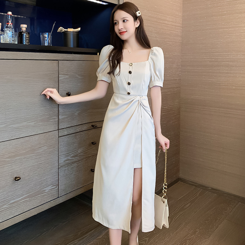 #0961 Summer Vintage Vestido Casual Midi Dress Women Square Collar Buttons Woman A-line Dress Puff Sleeves Sexy Side Split