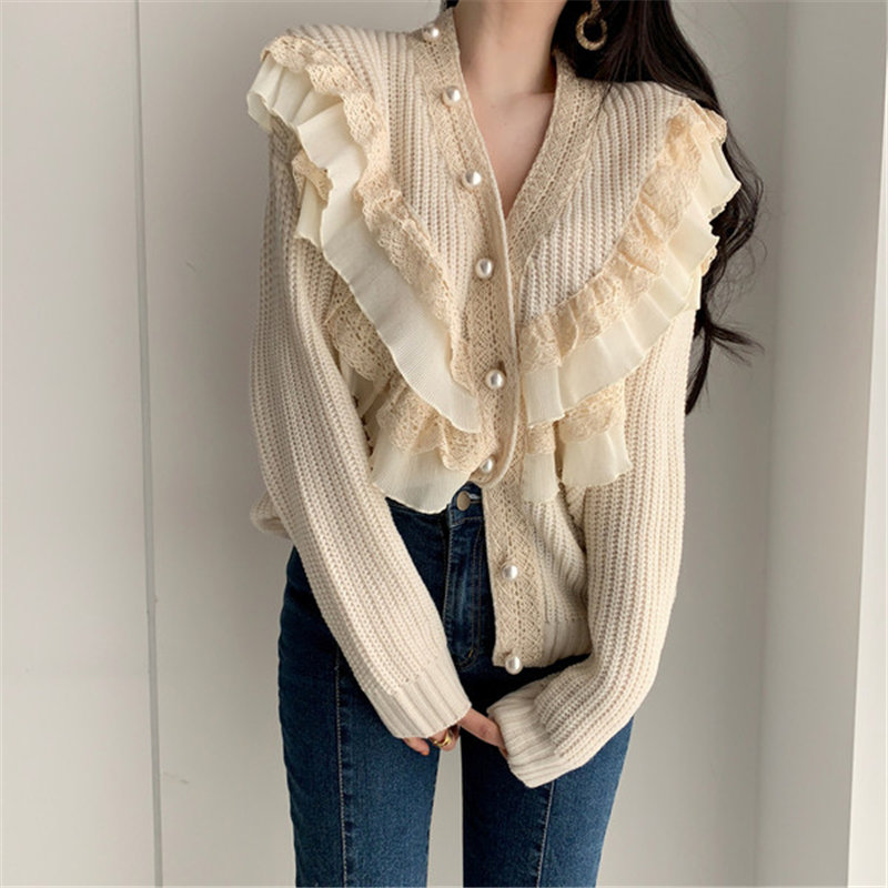 Alien Kitty Chic Korean Patchwork Pearl-Buttons Gentle 2020 Casual Knitted Cardigans Warm All-Match Loose High Quality Sweaters