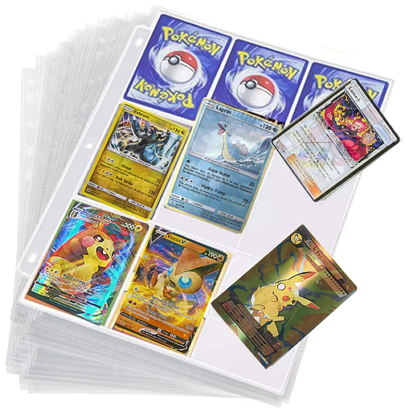 50PCS Transparent Cards Album Pages Anime Playing Game Card Yugioh Tarot Pokemon Trading Collection Cover Binder Kids Holder Toy