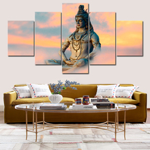 5 panel Shiva wall art poster and print Hindu god portrait canvas painting religious living room decoration