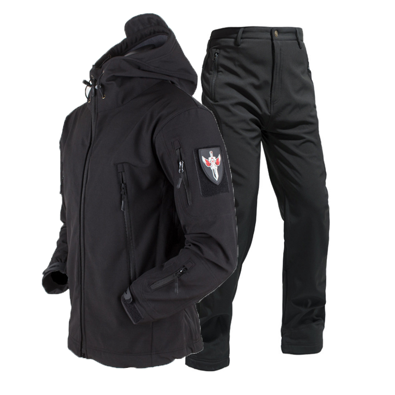 Men Winter Waterproof Tactical Army Military Sharkskin Jakcet Trousers Hunt Hiking Fishing Climbing Breathable Hoodie Coat pant