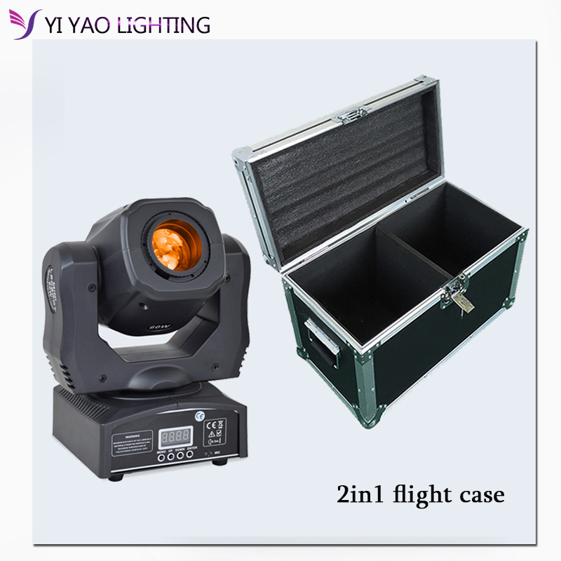 Flight Case Eyourlife LED Inno Pocket Spot Mini Moving Head Light 60W DMX dj 7 gobos effect stage lights  2pcs/lot