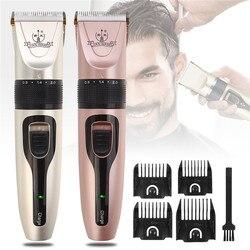 Profesjonalna elektryczna maszynka do strzyżenia włosów niski poziom hałasu akumulatorowa maszynka do włosów z 4 ogranicznikami grzebienie stylizacja Clipper dla dorosłych dzieci
