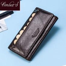 Contact en cuir véritable femmes longue bourse femme embrayages argent portefeuilles marque Design sac à main pour support de carte de téléphone portable portefeuille