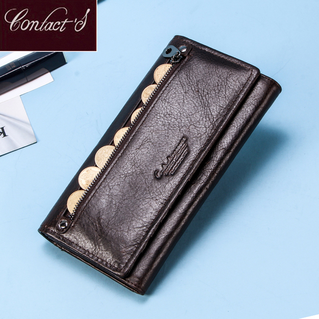Contacts Genuine Leather Women Long Purse Female Clutches Money Wallets Brand Design Handbag for Cell Phone Card Holder Wallet