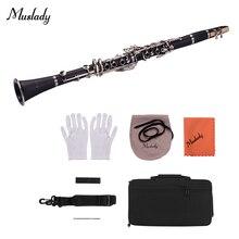 Muslady ABS 17-клавишным кларнет в строе Bb плоская подошва для переноски Чехол перчатки, Чистящая салфетка мини-отвертка Рид Чехол камыш духовой инструмент