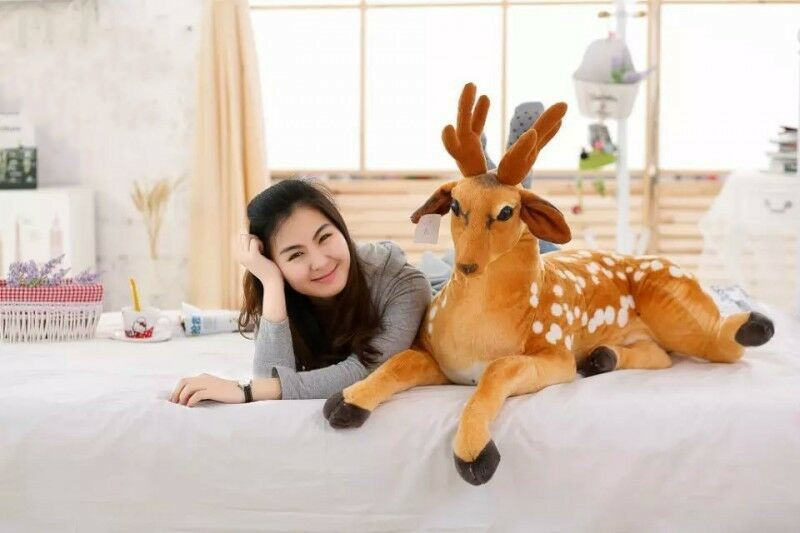New Giant Big Cuddly Deer Plush Soft Toy Reindeer Animal No Sound Nice Xmas Gift Stuffed Animals Plush Stitch Cute Plush