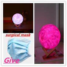 Creative Gift 3D printing star and moon lamp colourful change tactile decorator gift creative USB LED