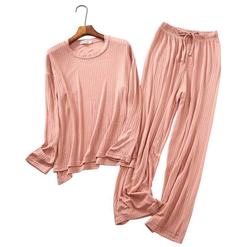 pyjamas women pijamas sleepwear 2019 autumn winter 100 cotton long sleeved home suits loose casual 2 pieces set Tracksuits in Pajama Sets from Underwear Sleepwears