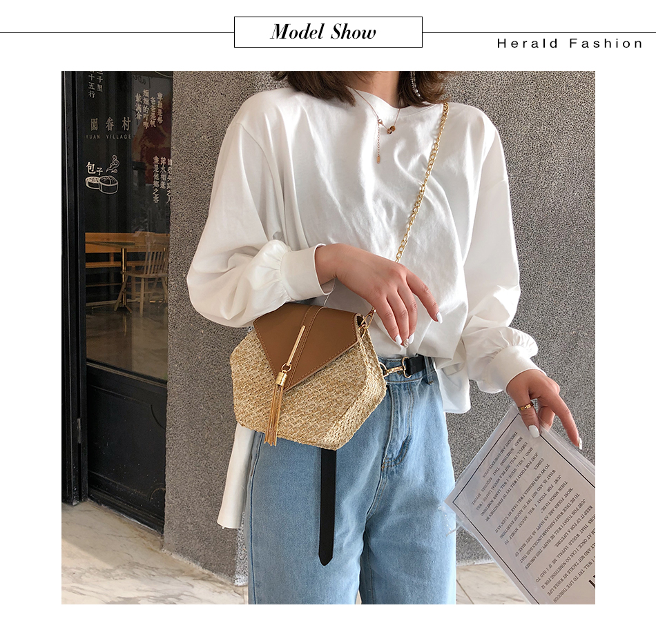 H07d893534db2487d87844a41e558ab5ff - Mulit Style Straw leather Handbag Women Summer Rattan Bag Handmade Woven Beach Circle Bohemia Shoulder Bag New Fashion