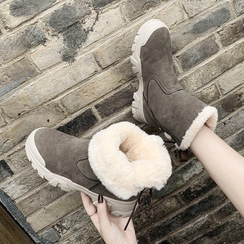 Women Ankle Boots 2020 Winter Platform Warm Shoes Fashion Black Plush Short Boots Women Warm fur Khaki Snow Boots
