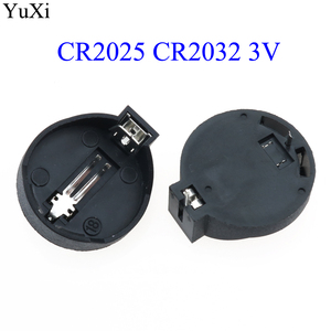 YuXi 1x 5x 10x Black CR2025 CR2032 3V Button Coin Cell Battery Socket Holder Case Wholesale