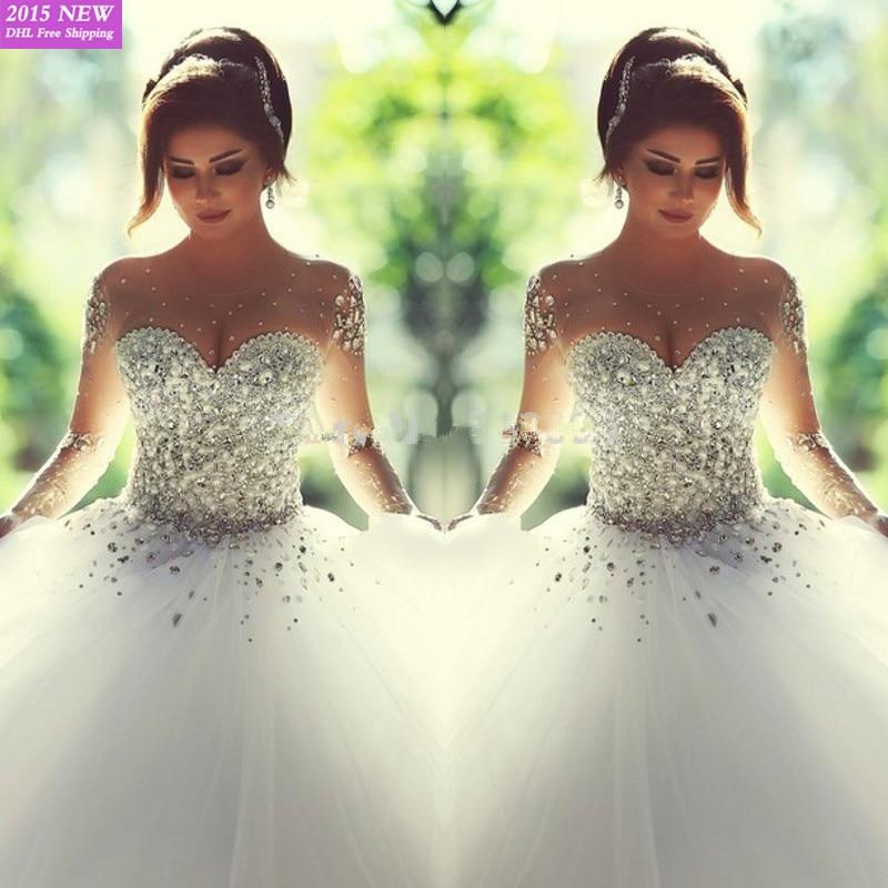 Said Mhamad 2016 Long Sleeve Wedding Dress Vestidos De Noiva Ball Gown Bridal Gowns Zipper Back Luxury Wedding Dress For Brides