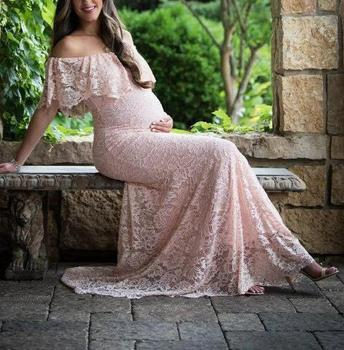 Pregnancy Dress for Photo Shoot Maternity Photography Props Sexy Lace Maxi Gown Dress Plus Size Pregnant Women Dress photography s m l xl maternity dress for photo shoot maxi maternity gown split front maternity chiffon gown sexy maternity photography props