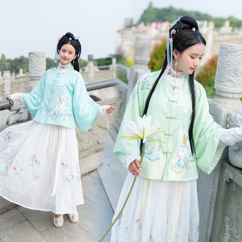 Hanfu Dress Women Chinese Traditional Classical Dance Costumes Ming Dynasty Elegant Clothes Folk Dance Performance Outfit VO404