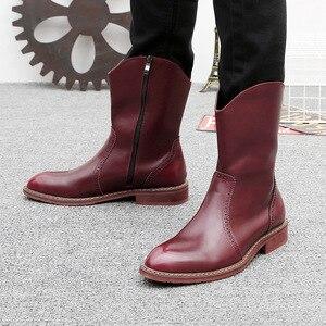 Image 5 - Mens di marca famosa del partito locale notturno del vestito in pelle di mucca brogue scarpe mid vitello stivali da cowboy chelsea di avvio di autunno della molla botas sapatos