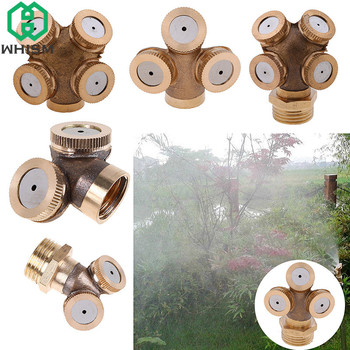 WHISM Brass 2/3/4 Hole Mist Spray Nozzle Agricultural Water Sprayer Nozzles Garden Sprinkler Lawn Misting Watering Irrigation 4 points alloy nozzle automatic rotation lawn watering gardening watering cooling agricultural spray irrigation