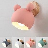 Dibujos Animados creativos de madera Mickey Mouse pared luces nórdico Macaron LED pared lámpara niños lectura dormitorio cabecera iluminación E27|Lámparas de pared| |  -