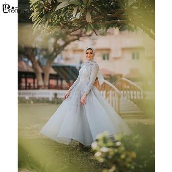 Light Blue Beading Lace Evening Gown 2020 A-Line High Neck Tea-Length Hijab Formal Dress Long Sleeves Muslim Evening Dresses pearl beading bell sleeve hijab long dress
