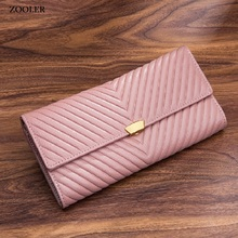 ZOOLER Long Wallet Genuine Leather bag new Women Clutch Purse Soft COW leather Lady Zipper Hand Bags Portefeuille Femme#CW201