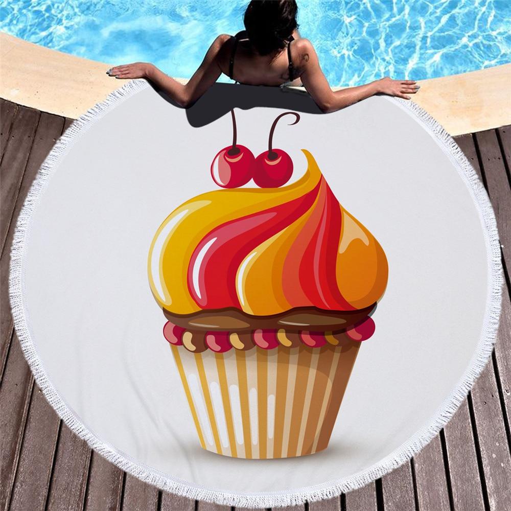 Été mode créative serviette de plage 3D cerise crème glacée gâteau serviettes de bain maillot de bain cape châle Yoga tapis plage jeter couverture douce