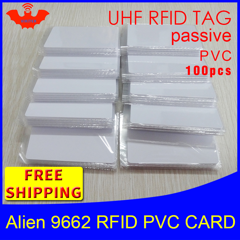 UHF RFID Tag PVC Card Alien 9662 915m 868mhz 860-960MHZ Higgs3 EPC ISO18000-6C 100pcs Free Shipping Smart Card Passive RFID Tag