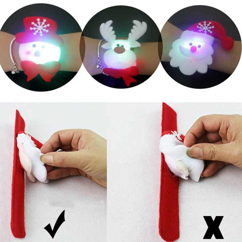 New Christmas Cartoon Snowman Bear Elk Santa Claus LED Sequins Luminous Slap Bracelet Bangle Christmas New Year Party Decoration