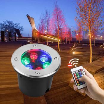 RGB Control remoto LED empotrado 12V 85-265V 3W 6W 9W 12W 15W 18W 24W 36W lámpara de cubierta para exteriores puerta subterránea lámparas de pie