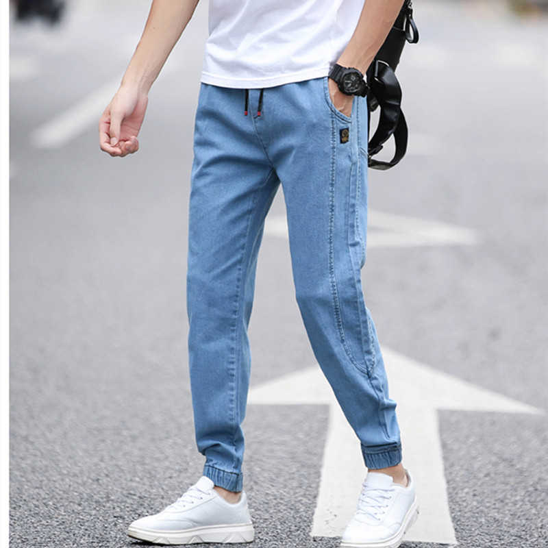 BINHIIRO Summer Men's Jeans Solid Color Loose Classic Casual Jeans Men Straight Slim Fashion Beam Foot Denim Trousers Male  K606