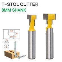 2 יח\סט 8mm Shank T חריץ Keyhole קאטר עץ נתב Bit קרביד קאטר לעץ Hex בורג T  מסלול חטוט כרסום Cutters