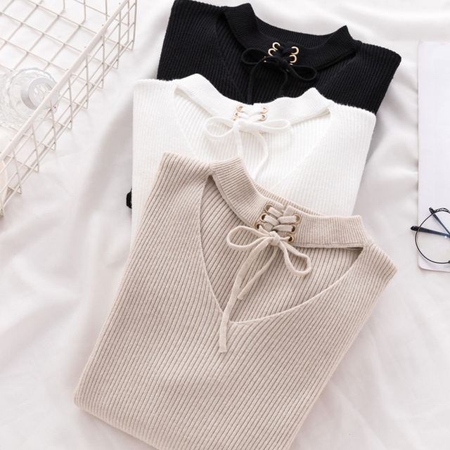 Ailegogo New Sexy Women V Hanging Neck Sweater Casual Female Solid Slim Fit Knitwear Tops Hollow Out Ladies Knitted Outwear 1