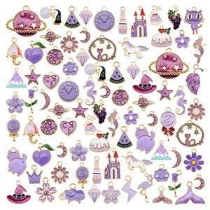 Julie Wang 20PCS Enamel Purple Yellow Charms Random Mixed Fruit Animal Flowers Alloy Pendants Earrings Jewelry Making Accessory