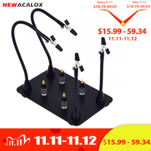 NEWACALOX Magnetic PCB Board Fixed Clip Flexible Arm Soldering Third Hand 5X Magnifier Glass Soldering Iron Holder Repair Tools