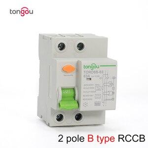 2P 4P 63 Amp Type B 10KA RCCB RCD 230V 400V 30mA Residual Current Circuit Breaker TORD6B-63(China)