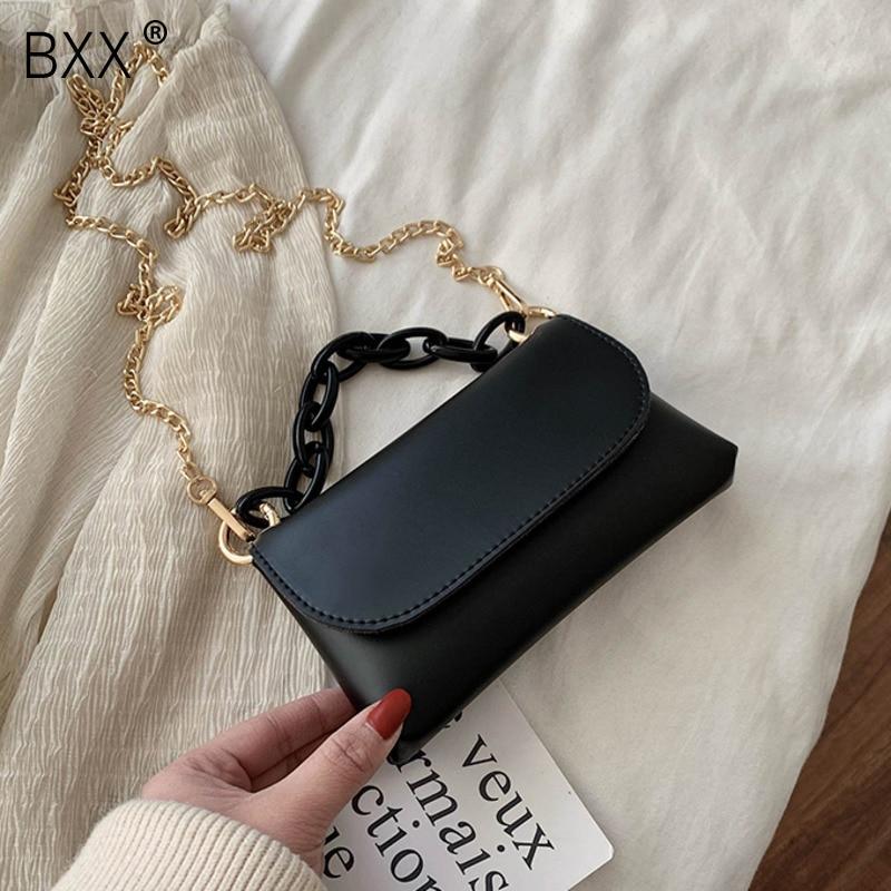 [BXX] PU Leather Crossbody Bags For Women 2020 Spring Brand Designer Chain Shoulder Messenger Bag Female Travel Handbags HK521