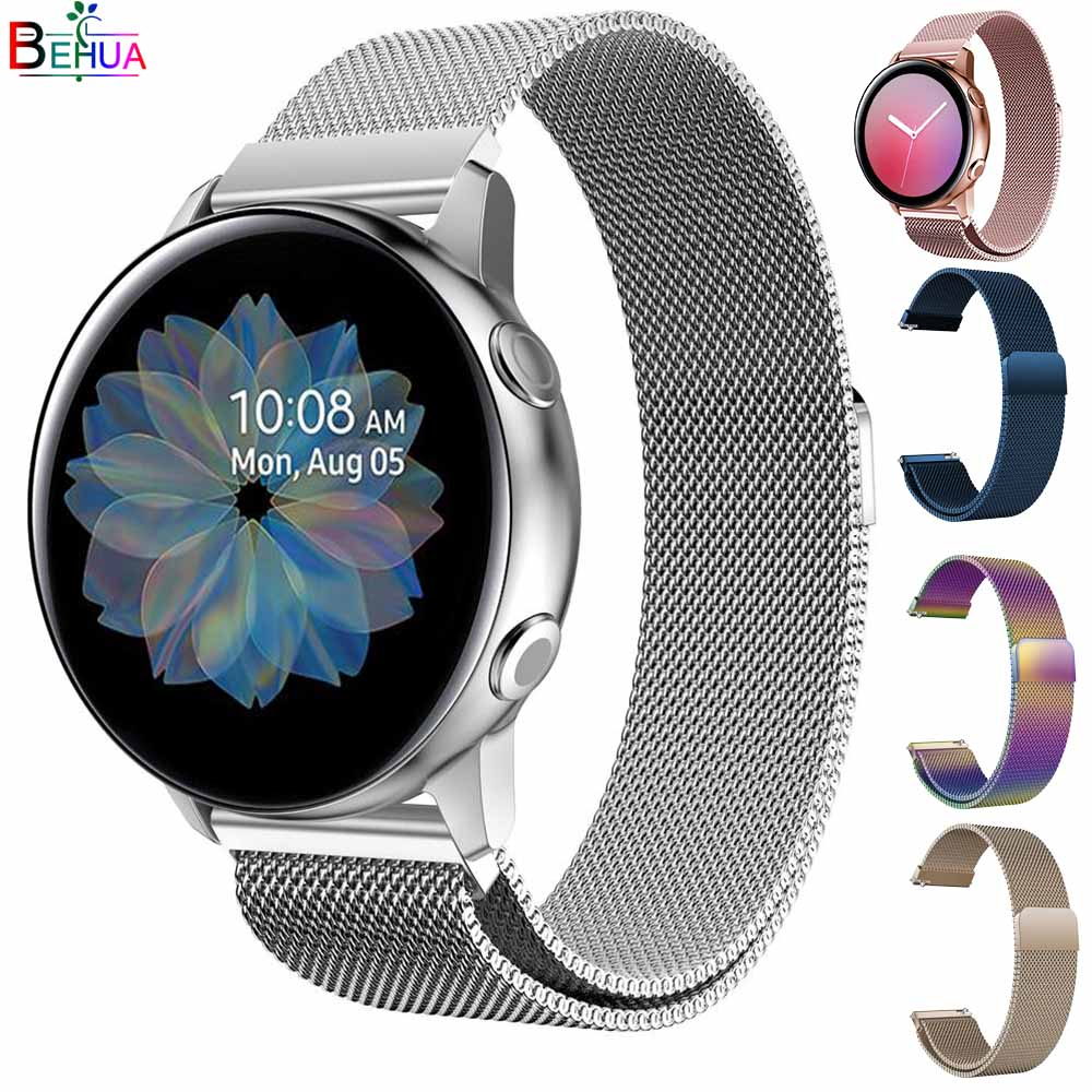 <font><b>20mm</b></font> Milanese <font><b>strap</b></font> For Samsung Galaxy <font><b>watch</b></font> active active2 40mm 44MM <font><b>watch</b></font> band wristband <font><b>strap</b></font> For Huami Amazfit GTR 42mm/<font><b>GTS</b></font> image