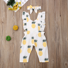 Newborn Baby Girl Clothes Sleevless Ruffle Pineapple Print Romper Jumpsuit Headband 2Pcs Outfits Clothes Summer cute newborn baby girl romper clothes 2017 summer polka dot tassel romper baby bodysuit headband 2pcs outfits sunsuit