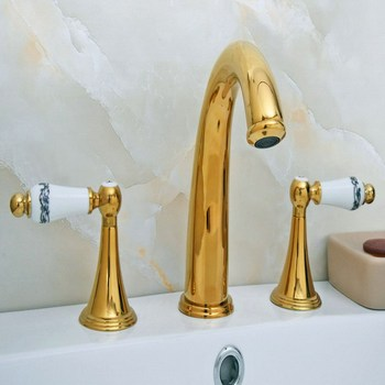 Luxury Gold Color Brass Double Handles 3 Holes Install Widespread Deck Mounted Bathroom Sink Basin Faucet Sink Mixer Tap mgf023