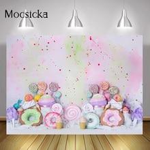 """Torta di compleanno per bambini Sweet cand""""smash Background ciambelle lecca lecca paradiso ritratto sfondo gelato arcobaleno Graffiti Wall"""