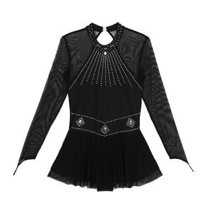 Image 4 - TiaoBug מבריק Rhinestones ארוך שרוול רשת אחוי בלט התעמלות בגד גוף נשים איור החלקה שמלת ביצועי ריקוד תלבושות