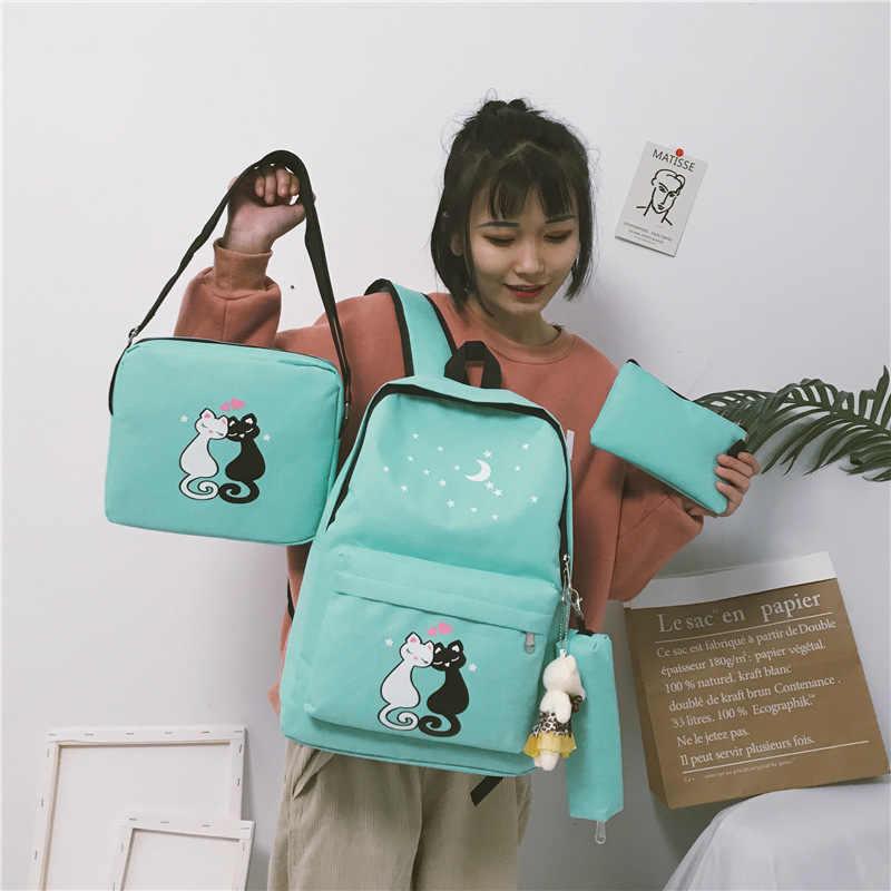 8 piezas lindo Animal estrella impresión mochila hombres mujeres lona mochila escolar para adolescentes niñas mochila escolar
