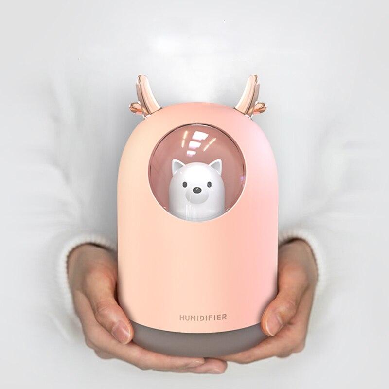 300ML Humidifier Cute Pet Mini Air Diffuser Ultrasonic Essential Oil Diffuser Car Air Freshener Aroma Mist Maker For Home Office