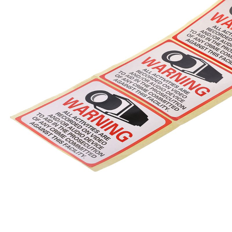 8PCS Warning Stickers SECURITY CAMERA IN USE Self-adhensive Safety Label Signs Decal Q1QF