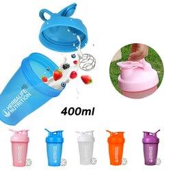 Sportowa butelka do wytrząsania 400ML kubek na wodę przenośna Fitness ze skalą duża pojemność plastikowa mieszająca białko w proszku Milkshake Cup